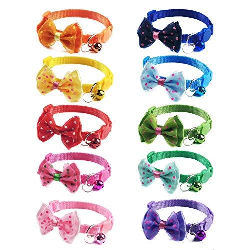 JZK Set 10 x Multi colore sgancio rapido collare per gatti con campanello e fiocco per gatto e cane di piccola taglia, collare gatto antistrozzo con campanellino e fibbia di sicurezza