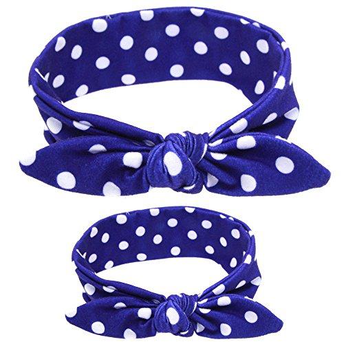 SAMGU 2 Pièces Mère et Bébé Bandeau de Cheveux Lapin Oreille Nœud Papillon Bowknot Mignon color bleu