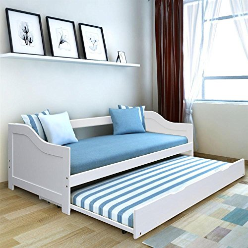 tinkertonk 3 ft White Solid Wood Single Day bed Frame with Underbed Trundle Guest Bed