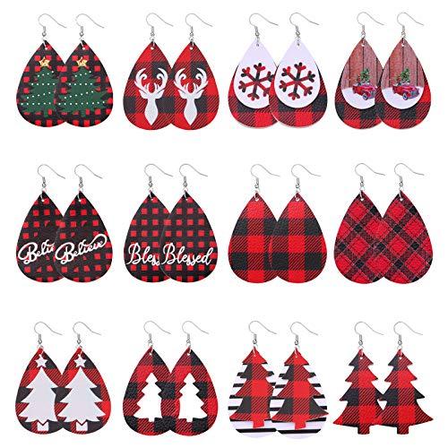 Biokia Christmas Earrings For Women Dangle Buffalo Plaid Earrings Lightweight Faux Leather Earrings Holiday Earrings Bulk For Women Xmas Jewelry 12-16 Pairs