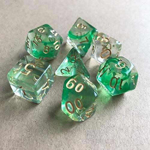 PYSDWE Dados poliédricos 42pcs New Dice Set Dados Tocando Cubos Dados poliédricos para RPG Dungeons y para la enseñanza de matemáticas ( Color : Green Gold )