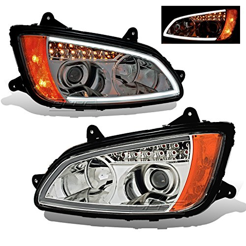 SPPC Projector Plank Style Chrome Amber Reflector Headlight Assembly Set for Kenworth T660-(Pair) Driver Left and Passenger Right Side Replacement Headlamp