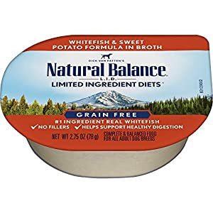 Natural Balance L.I.D. Limited Ingredient Diets Wet Dog Food, Whitefish & Sweet Potato Formula in Broth, 2.75 Ounce Cup (Pack of 24)