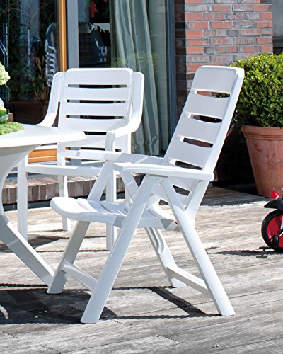 1 Kettler Gartenstuhl Multipositionssessel Nizza klappbar aus Kunststoff in weiß
