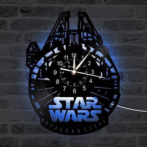 Smotly Horloge Murale en Vinyle, Décor Star War 7 Couleur Horloge Murale, Salon Chambre Main Accueil Décoration Murale Cadeaux pour Les Enfants,C,with Light