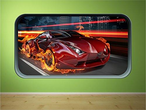 Fire Voiture FC1 rapide Racing Voiture de sport pour enfants Window Flames Speed énorme Décoration murale Autocollant, Large 59cm x 107cm