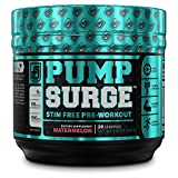 PUMPSURGE Caffeine Free Pump & Nootropic Pre Workout Supplement, Non Stimulant Preworkout Powder & Nitric Oxide Booster - 20 Servings, Watermelon