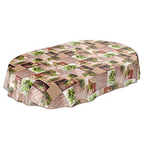 ANRO Wachstuchtischdecke - Abwaschbare Wachstischdecke mit Muster Bio Garten Gewürz Oval 220x160cm mit Saum - Eingefasst