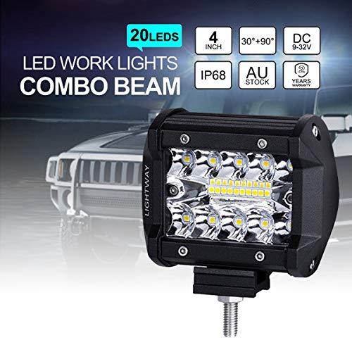 Lampe de travail à DEL, 2 feux de brouillard au volant d'un camion tout-terrain portatif, 2 pcs 60W 3600lm, 4 pouces