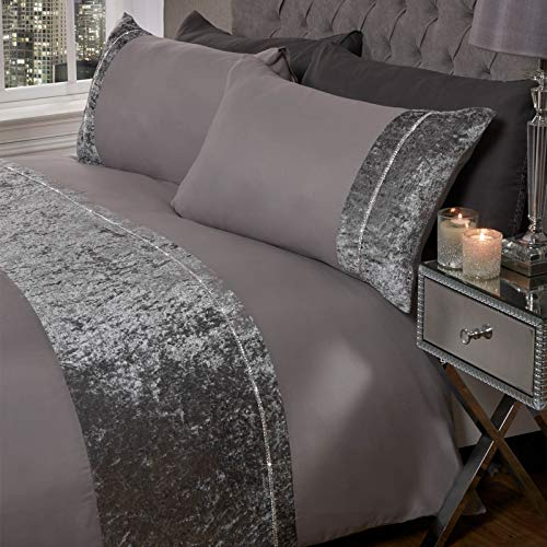 Sienna Luxury Crushed Velvet DIAMANTE Band Duvet Cover with Pillowcase Shimmer Bedding Set, Silver Grey - Single