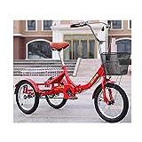 zyy Tres Adultos Triciclos Trike Rueda de Bicicleta de 16 Pulgadas Triciclo 1 Velocidades Adulto Marco de Aleación Trike con Marco de Aleación con Carrito de Deportes Al Aire Libre Rojo