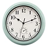 Foxtop 12 Inch Indoor/Outdoor Retro Silent Non-Ticking Waterproof Wall Clock with Thermometer - Battery Operated Quality Quartz Round Clock for Patio/Home Decor (Blue)