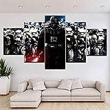 IILSZMT 5 Piezas Impresión En Lienzo Película De Casco Darth Vader De Star War Cuadro Para Sala Estar Póster De Arte Pared Pintura Decoración Hogar 150Cmx80Cm
