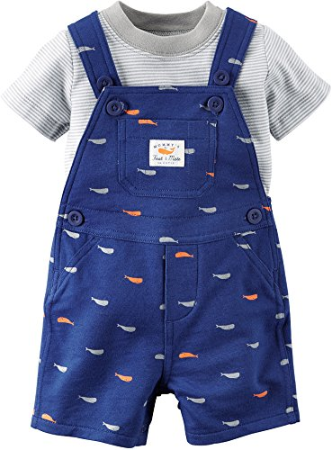 Carters's Kurze Latzhose + T-Shirt Sommer Set Baby Junge Shorts blau Fisch Outfit Boy (0-24 Monate) (18 Monate, blau)