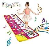 BelleStyle Piano Matte, Tanzmatten Musikmatte Kinder - 8 Tierstimmen mit 8 Klaviertasten Musik Matte Klaviertastatur Teppich Baby Spielmatte Spielzeug für 3-6 Jahre Alte Kinder (100*36 cm)
