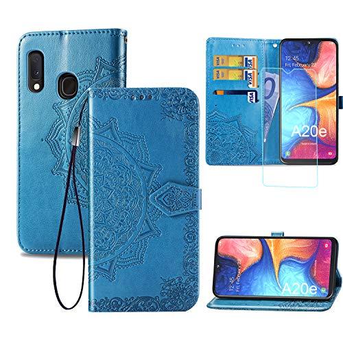 Funda para Samsung Galaxy A20e + Protector de Pantalla Cristal Templado, Carcasa Libro con Tapa Flip Case Antigolpes Cartera PU Cuero Suave - Mandala Azul