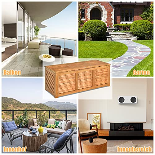 COSTWAY Gartenbox Akazienholz Massiv Gartenbank Auflagenbox Kissenbox Gartentruhe Aufbewahrungsbox für Garten und Hinterhof 120x45x45cm - 2