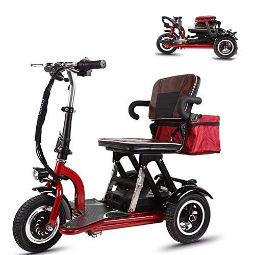 YHXJ Scooters Discapacitados, Scooter Eléctrico 3 Ruedas, Motor De 300 Vatios, Plegable, 12 mph, Ajuste De 3 Velocidades, Adecuado para Ancianos, Discapacitados, Adultos 19mi