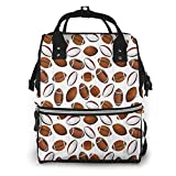 JDHFJ sac à dos momie Bag Travel Backpack Large Capacity Tote Shoulder Nappy Rugby Player in Action with Multi-Function Large Capacity and Durable Beige