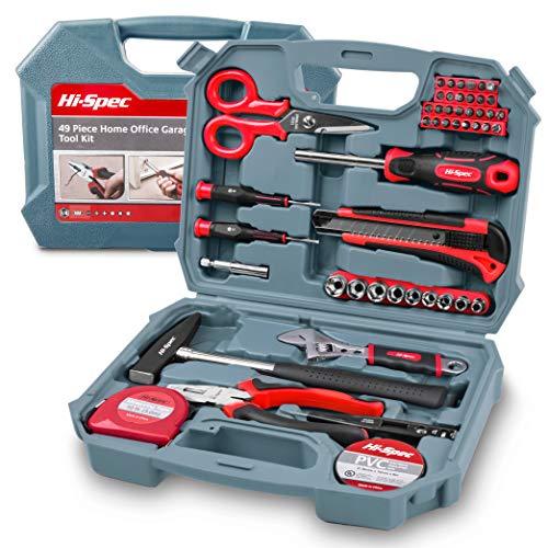 Hi-Spec 49-teiliges Heim-Büro-Garagen-Werkzeugset inklusive 200g Schlosserhammer, verstellbarem Schraubenschlüssel, Kombizange, Blechschere, Steckschlüssel, Messer, Bit-Dreher & Schraubendreher-Bits, Präzisionsschraubendreher, Maßband – alles in einer kompakten Aufbewahrungsbox