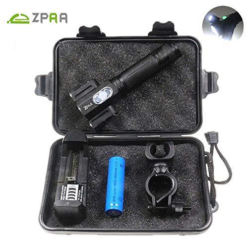 ZPAA Lampe torche LED puissante Blanc froid 3800 lumens Tête T6 + 2Q5 Éclairage réglable 360 ° 18650 Lanterna Bike