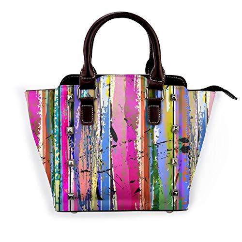 BROWCIN Gemischte abstrakte Malstriche Rahmen Leinwand Lebendiges Muster Spritzer Lila Design Regenbogen Anders Abnehmbare mode trend damen handtasche umhängetasche umhängetasche