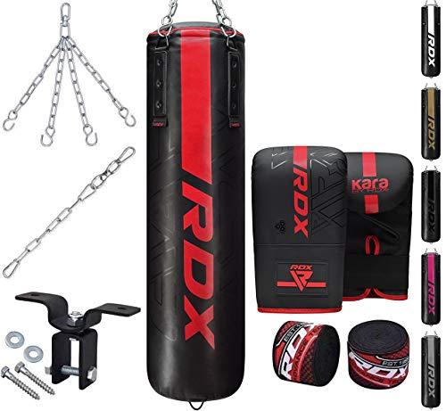 RDX 8PC Sacco da Boxe 4ft 5ft e Guantoni Set, Riempito Adulti Kara Sacchi Pugilato con Catena e Gancio Soffitto per Muay Thai, Sparring, Kickboxing Al