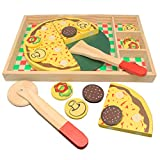Wooden Pizza Set for Kids, Pretend Food Play Pizza Party Toy Set - Best Gift for 2 3 4 Year Old Boys Girls