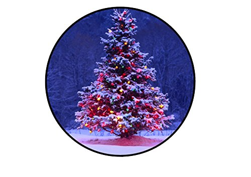 Oblea de papel de arroz comestible de 17,78 cm para decoración de tartas, diseño de árbol de Navidad nevado