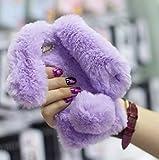 Case for LG K7,Warm Stylish Cute Artificial Rabbit Fur Bling Crystal Rhinestone Rabbit Ear Fluffy Soft TPU Case for LG K7/ LG Tribute 5(Purple)