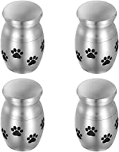 Set of 4 Mini Cremation Urn for Pet Ashes, Dog Paw Small Mini Keepsake Urns, Mini Keepsake Sharing Urns for Your Loved Ones Remains w/Velvet Bag