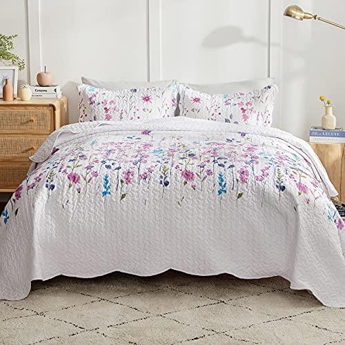 BedsureQuilt Sets Queen- LightweightPurpleFloralSummer BedspreadsClearance with 1 Coverlet and 2 Pillow Shams