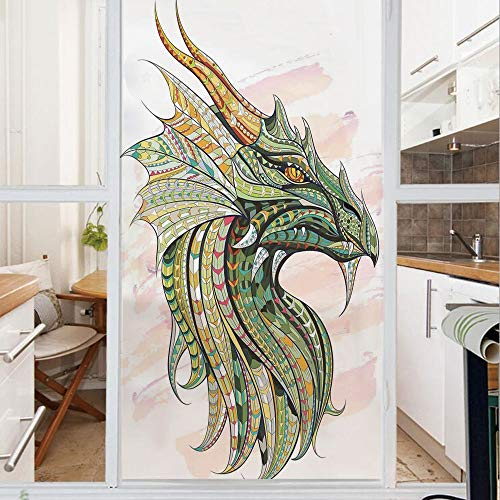 Decorative Window Film,No Glue Frosted Privacy Film,Stained Glass Door Film,Head of Legend Dragon with Ethnic African Ornate Effects on Grunge Backdrop Myth Celtic Design,for Home & Office,23.6In. by