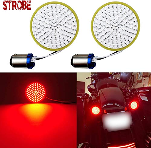 LivTee Extremely Bright Flashing Strobe Blinking Brake Stop Tail LED Lights Panel with 1157 Base Compatible for Harley Dyna Street Glide Road King, Brilliant Red