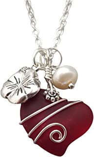 Hawaii Jewelry, Ruby Red Heart Sea Glass with designer wire wrap, HIbiscus and Freshwater pearl charms,