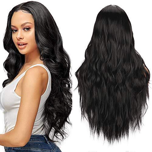YEESHEDO Perücke Damen Schwarz Lang Lockige Gewellte Natürliche Brasilianisches Perücken für Frauen Mädchen Mittelteil Mode Super Natürlich Black Wig 26 Zoll