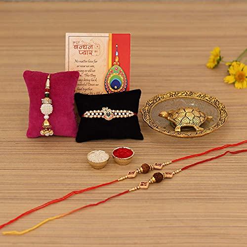 Collectible India Rakhi Combo Set for Brother - Rakshabandhan Gift for Bhaiya Bhabhi - Metal Tortoise Vastu Showpiece, Rudraksha...