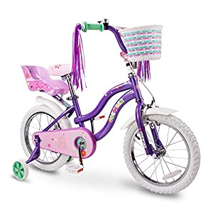 COEWSKE Kid's Bike Steel Frame Children Bicycle Little Princess Style 12-14-16-18-20 Inch with Training Wheel -