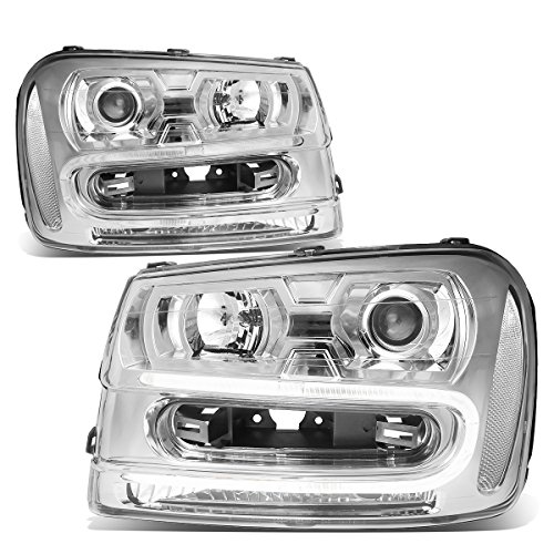 Replacement for Chevy Trailblazer 02-09 Pair of Chrome Housing Clear Corner LED U-Running Projector Headlight