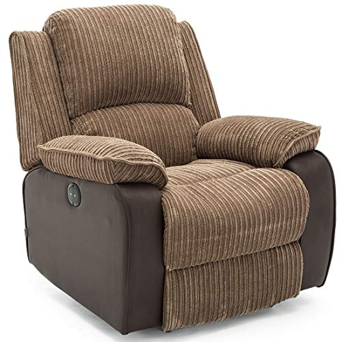 Postana Electric Armchair in Jumbo Cord Fabric Recliner Armchair Sofa Chair (Brown)