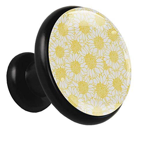 Indimization Daisy Golden Blooming Manopole per Armadio 4 pomelli Neri per cassettiera cassettiera Armadio per Maniglie da Cucina per Ante in Metallo trafilato 1.26x1.18x0.66in