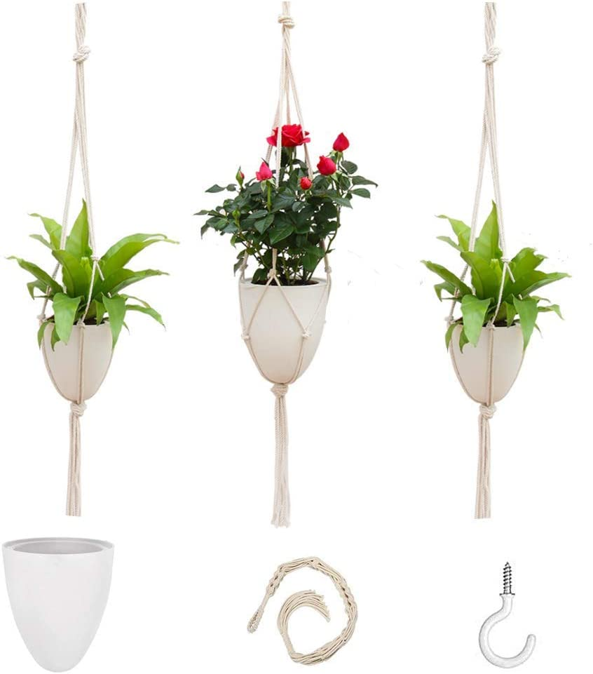 3 Pack Macrame Plant Hangers Basket Planter Hanging Indoor Clearance SALE! Limited time! Tampa Mall Flowe