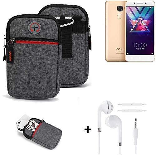 K-S-Trade® Gürtel-Tasche + Kopfhörer Für -Coolpad Cool S1- Handy-Tasche Schutz-hülle Grau Zusatzfächer 1x