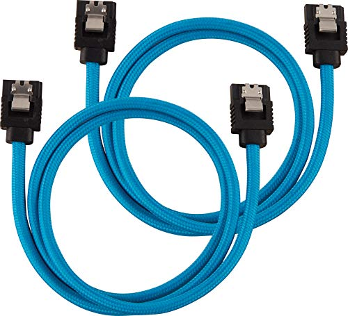 Corsair Premium Sleeved SATA 3 Kabel (6Gbps, 60 cm) Blau