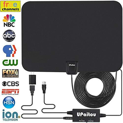 Digital HD TV Antenna, Indoor Amplified HDTV Antenna 60 Miles Range for 1080P 4K Free HD Television...