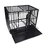 48'' Size Heavy Duty Pet Dog Cage Strong Metal Crate Kennel Playpen w/Wheels&Tray