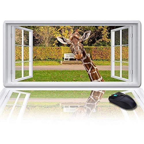 Duża podkładka pod mysz podkładka na biurko 89 x 38 cm, park i żyrafa za oknem klawiatura podkładka dla graczy, biura i domu