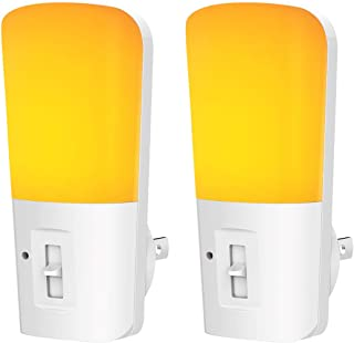 LOHAS Amber Night Light, Dimmable Plug in LED, Yellow Night Light with Dusk to Dawn Sensor, Kids Night Lights for Bedroom, 5-80LM Sleep Aid No Blue Light for Nursery, Hallway, Kitchen, Stairway, 2Pack