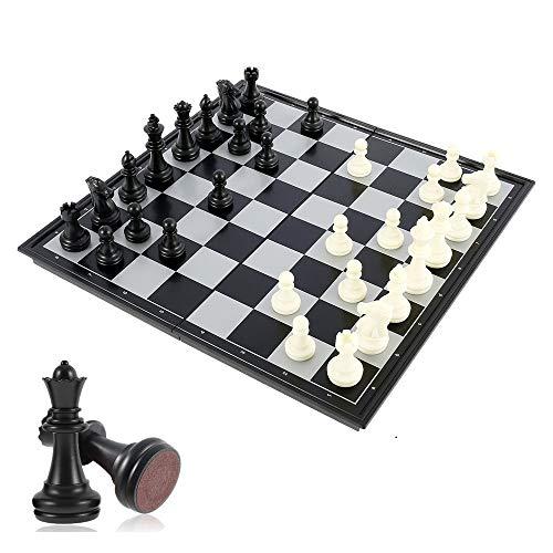 32 * 32cm Schachspiel Schach Schachbrett, Schach klappbar,Magnetischem Reise Faltbarem Schachbrett, Chess Set für Familie Geschenk Reisen Kinder und Erwachsene