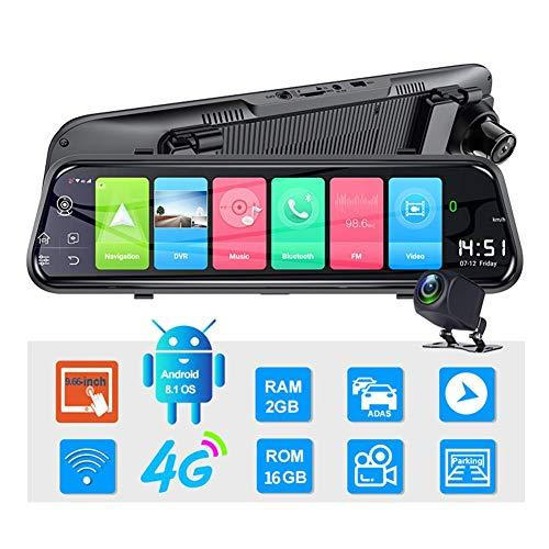 EZIZB Dashcam Rückspiegel Dashcam Auto Vorne Hinten 4G Android 8.1 9,66 Zoll, ADAS WiFi Dual Video Aufnahme 1080 P Objektiv RAM2G ROM16G Navigation Driving Recorder ADAS WiFi